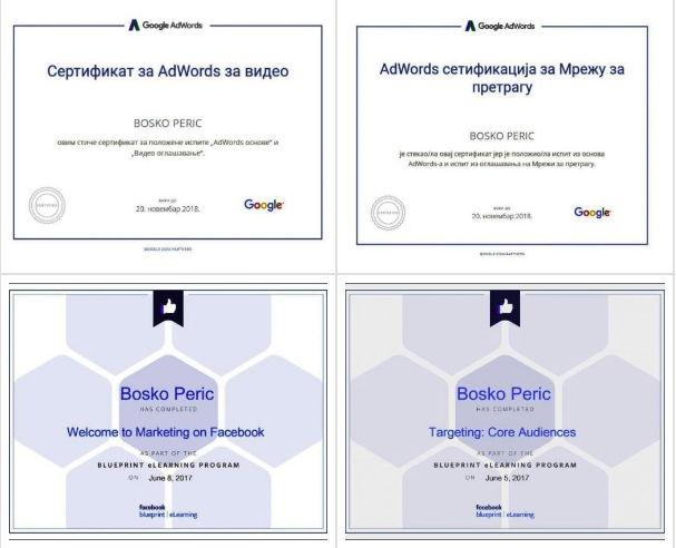 Google i Facebook sertifikati